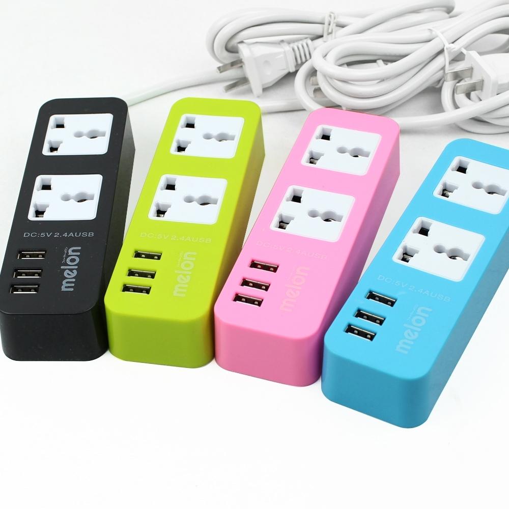 ปลั๊กไฟ 2 ช่อง USB 3 ช่อง  Melon MLCH007 รุ่น MLCH007-00G-Song1