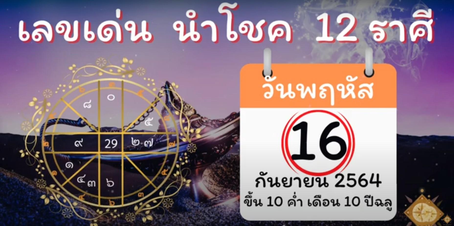 เลขเด่น นำโชค ประจำวันที่ 16 กันยายน 2564