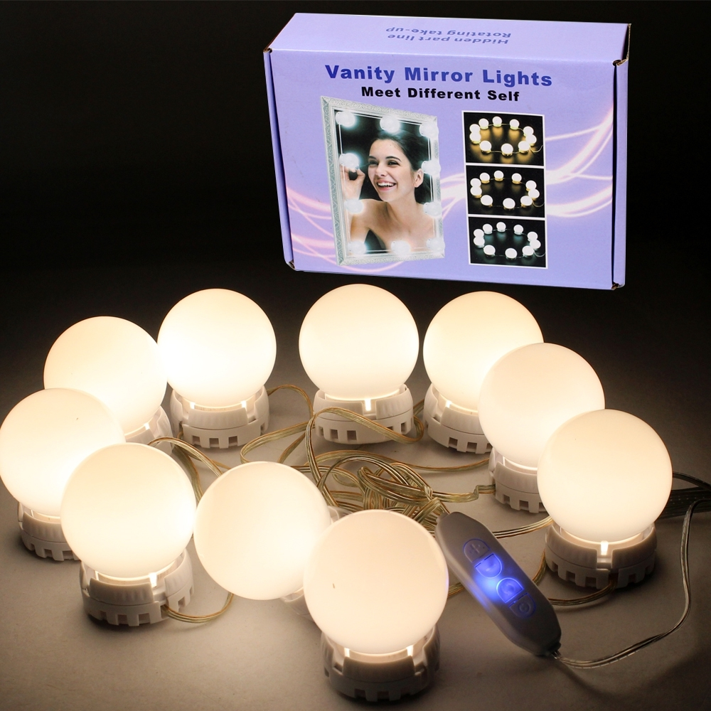 Telecorsa ชุดหลอดไฟ LED ติดกระจกแต่งหน้า พอร์ตUSB  LED Vanity Mirror Lights รุ่น VanityMirrorLight-02B-J1
