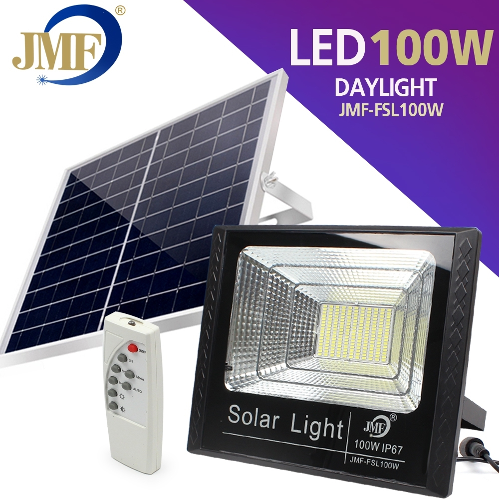 Telecorsa ฟลัดไลท์โซล่าเซลล์ สปอตไลท์โซล่าเซลล์  100W  JMF-FSL100W Solar Flood Light รุ่น JMF-100W-K50A-Song