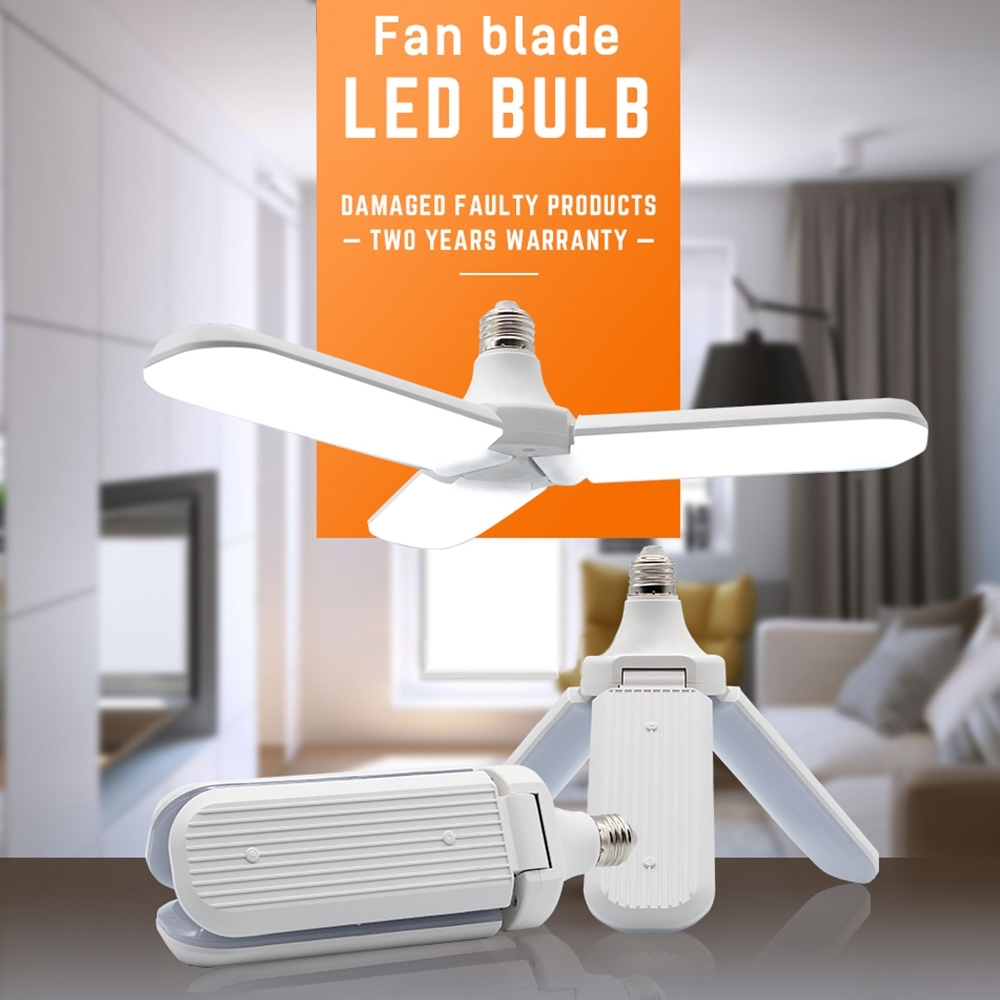 Telecorsa หลอดไฟ LED ทรงใบพัด พับเก็บได้ Fan Blade LED Bulb 45W รุ่น FanBladeLEDBulb-45W-03A-Rat