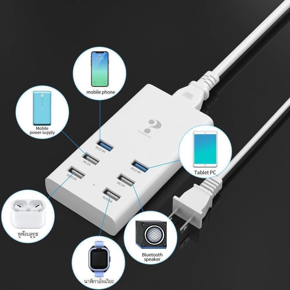Telecorsa ที่ชาร์จ เต้าเสียบ USB 6 ช่อง รุ่น 2.4A-2A-0.5A-6-Port-usb-02B-Ri