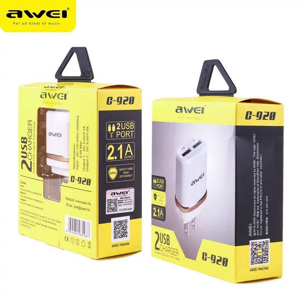 Telecorsa Awei C920 2 USB มัลติฟังก์ชั่อะแดปเตอร์ชาร์จ รุ่น usb-adapter-2-port-2.1A-Awei-C-920-00i-Ri