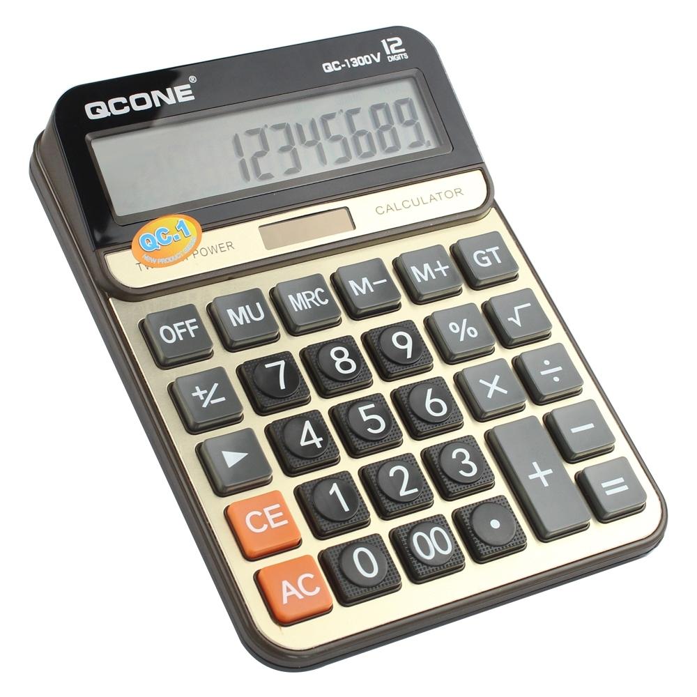 Telecorsa เครื่องคิดเลข หน้าจอ 12หลัก  (QC-1300V) รุ่นQcone-calculator-qc-1300v-01a-Cal