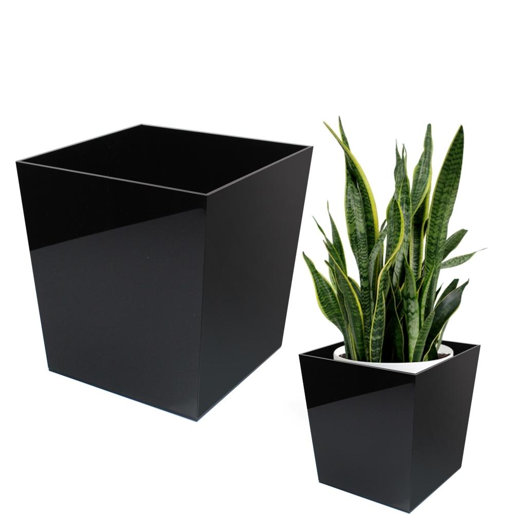 Telecorsa กระถางใส่ต้นไม้ กระถางอเนกประสงค์ รุ่น Black-rubbish-plant-box-plastic-05C-Likkit
