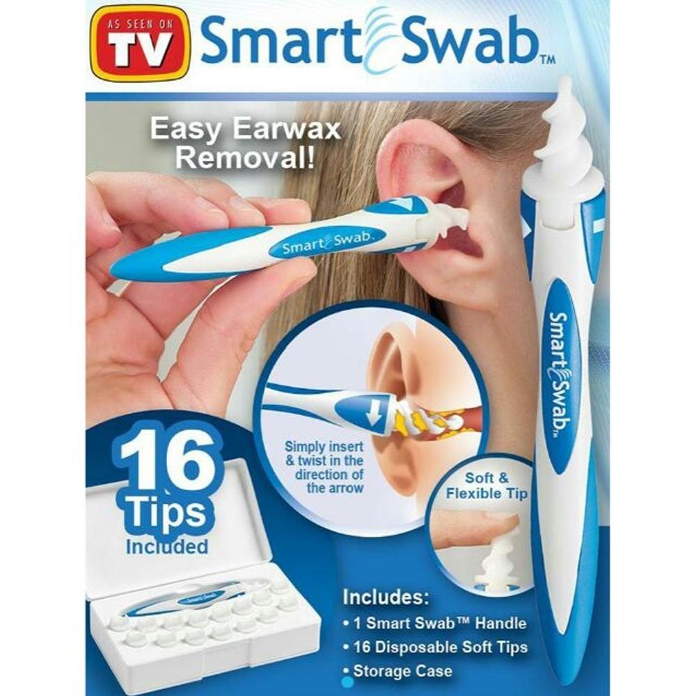 Telecorsa อุปกรณ์ทำความสะอาดหู พร้อมหัวปั่นสำรอง 16 หัว รุ่นSmart-Swab-Ear-Plug-00f-J1