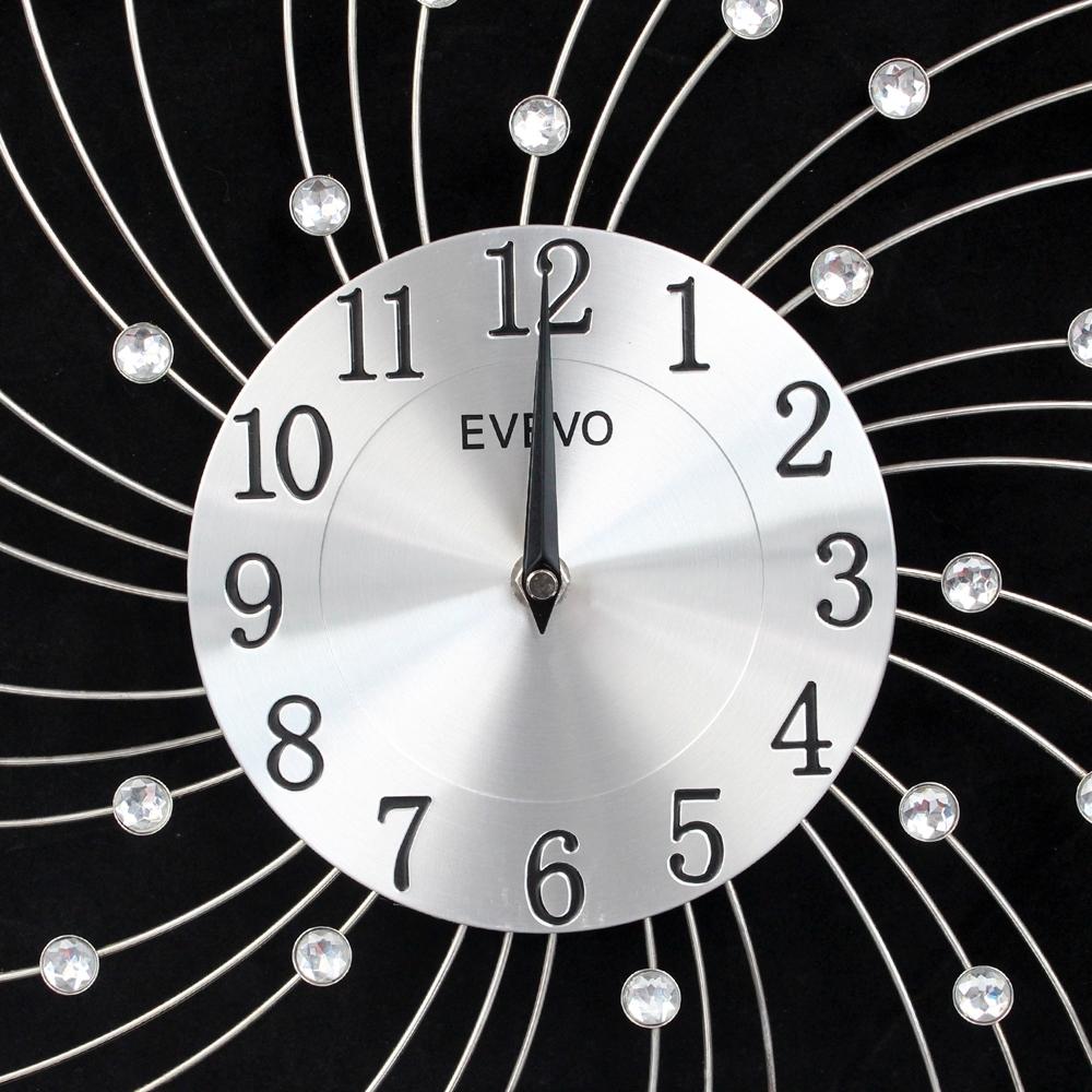 Telecorsa นาฬิกาแขวนประดับเพชรพลอยทรงกลมสีเงินขนาด 20 Cm 0907 รุ่น Diamond-wind-quartz-wall-clock-06B-song