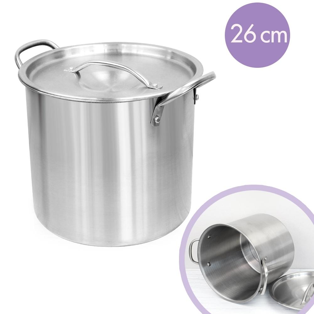 Telecorsa หม้อสตูว์ หม้อสต๊อกพอทสแตนเลส  26 ซม. ตราเพชร รุ่น  Stock-cooking-pot-26-cm-stainless-steel-76D-boss