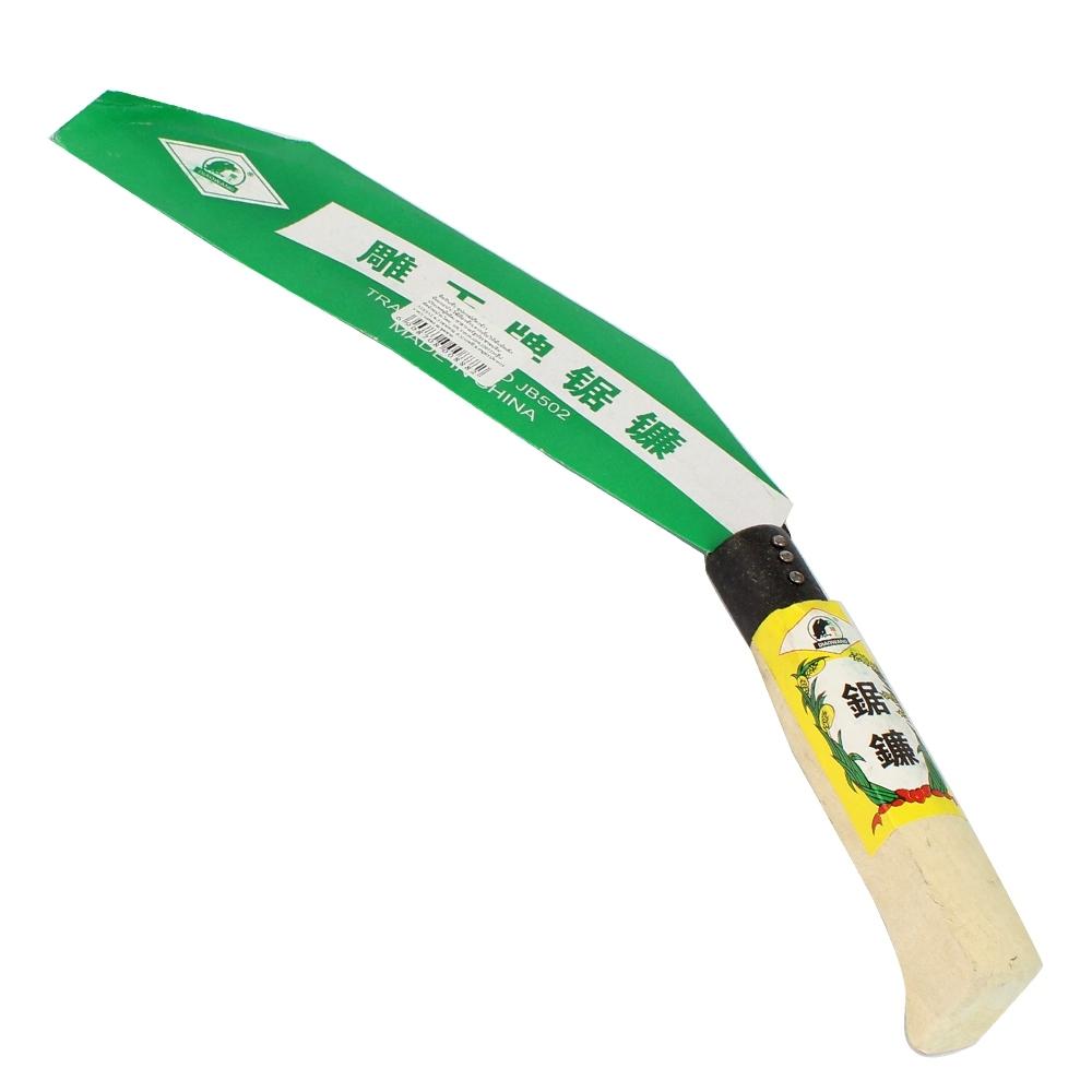 Telecorsa เคียวเกี่ยวข้าว /เกี่ยวหญ้า ด้ามไม้ เหล็กคุณภาพดี รุ่น Rice-stem-sugar-cane-cutter-04a-June3