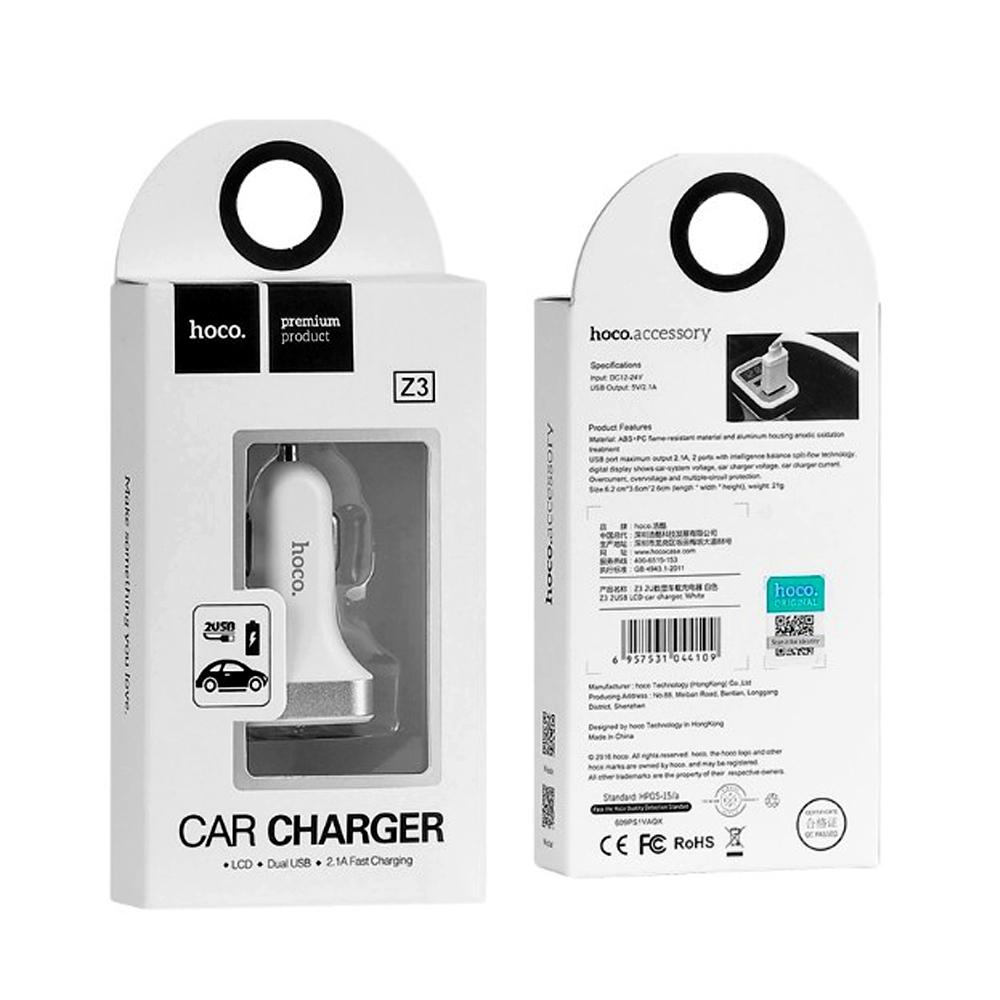 Telecorsa Hoco Z3 Car Charger LCD 2USB หัวชาร์จโทรศัพท์ในรถ คละสี รุ่น Car-charger-Z03-05h-Ri