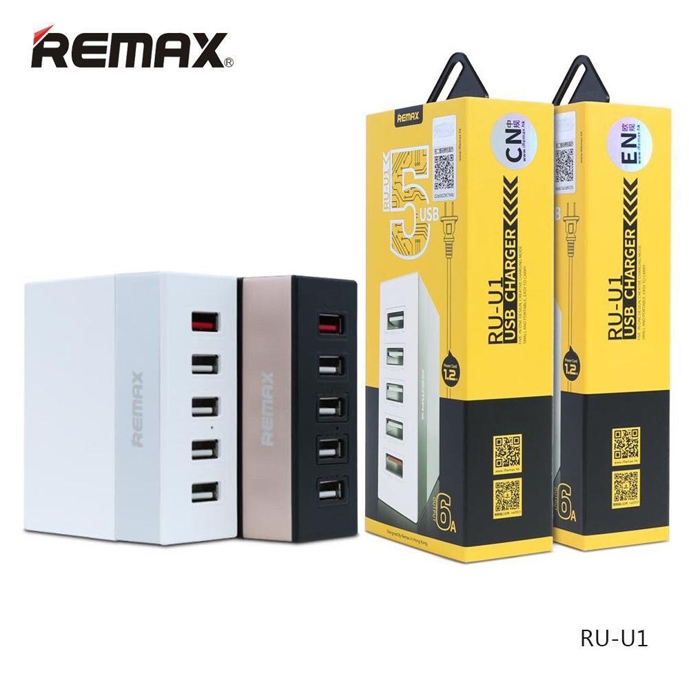 Telecorsa ปลั๊กชาร์จ USB 5 ช่อง REMAX ยาว1.2เมตร รุ่น RU-U1-06B-Ri