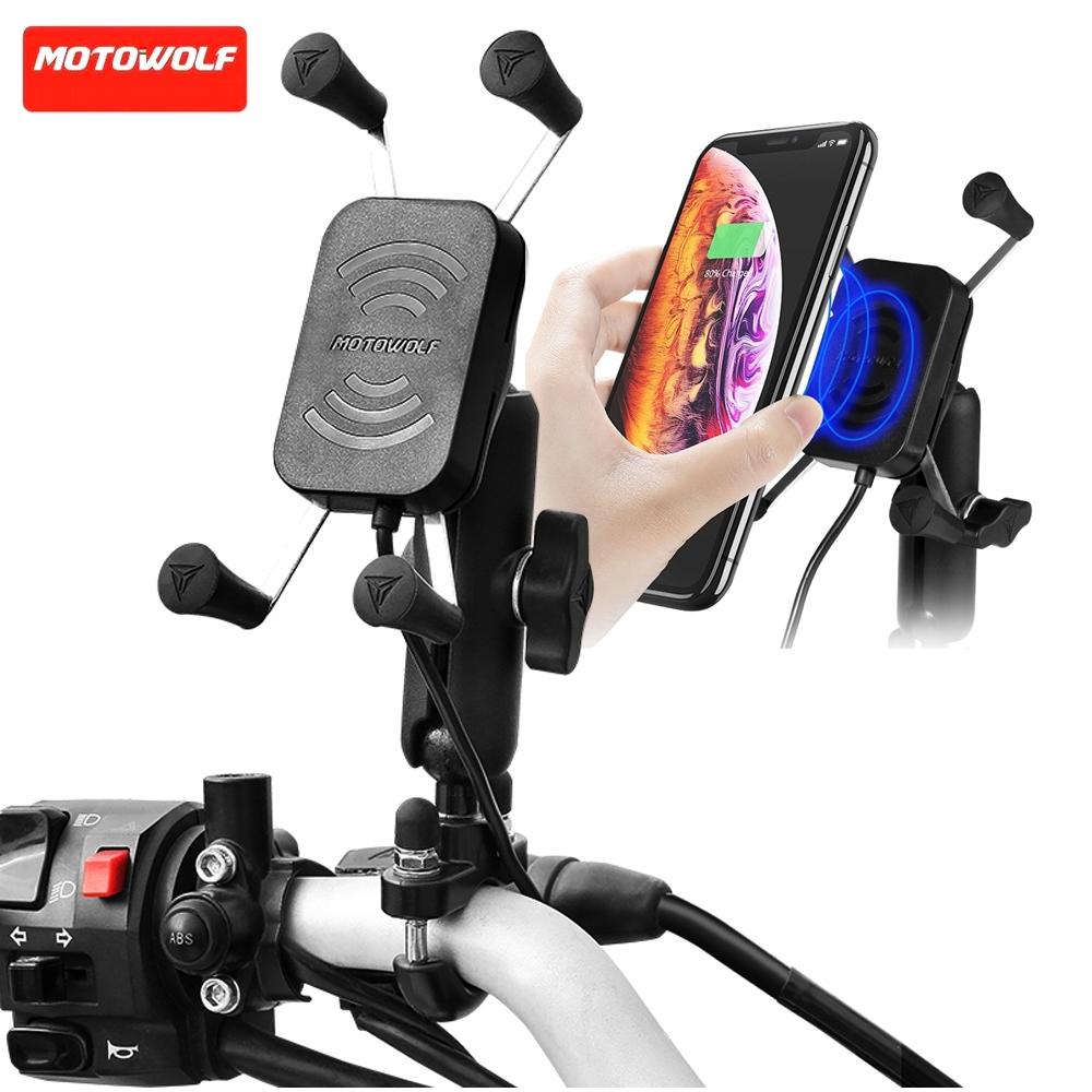 Telecorsa MOTOWOLF ที่ยึดโทรศัพท์พร้อม Port USB สำหรับมอเตอร์ไซค์ รุ่น charging-holder-mobile-motorbike-02D-Ri