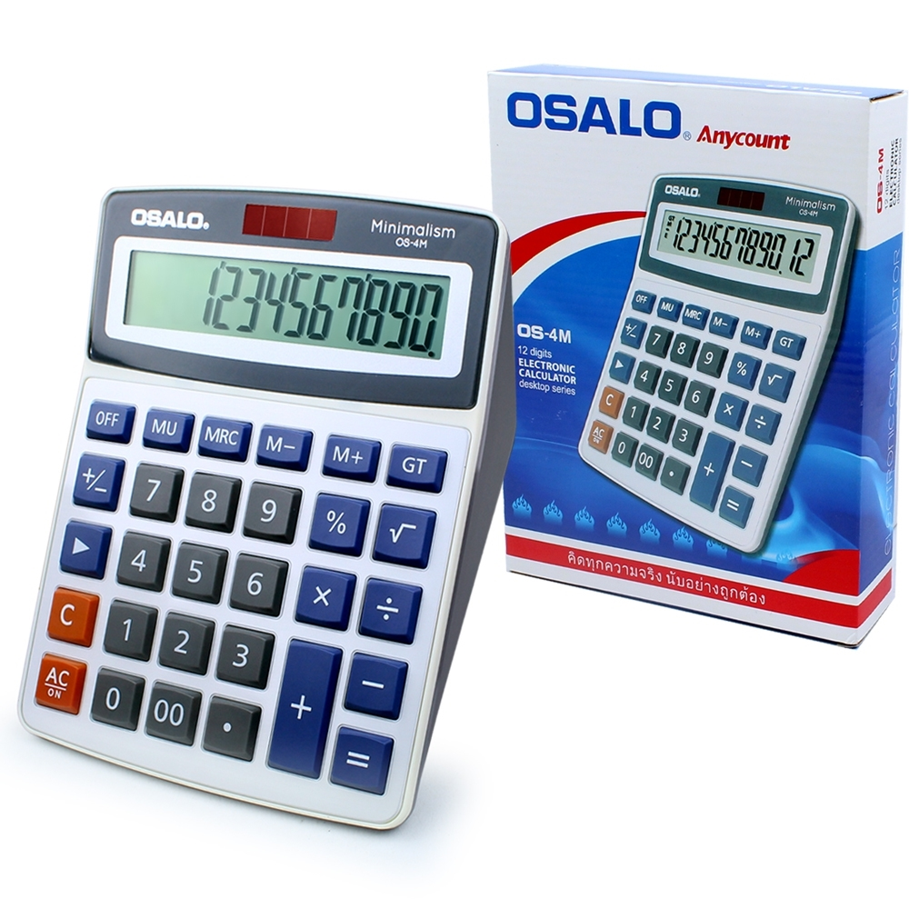 Telecorsa เครื่องคิดเลข หน้าจอ 12 หลัก OSALO OS-4M  รุ่น Os-4m-01a-Cal