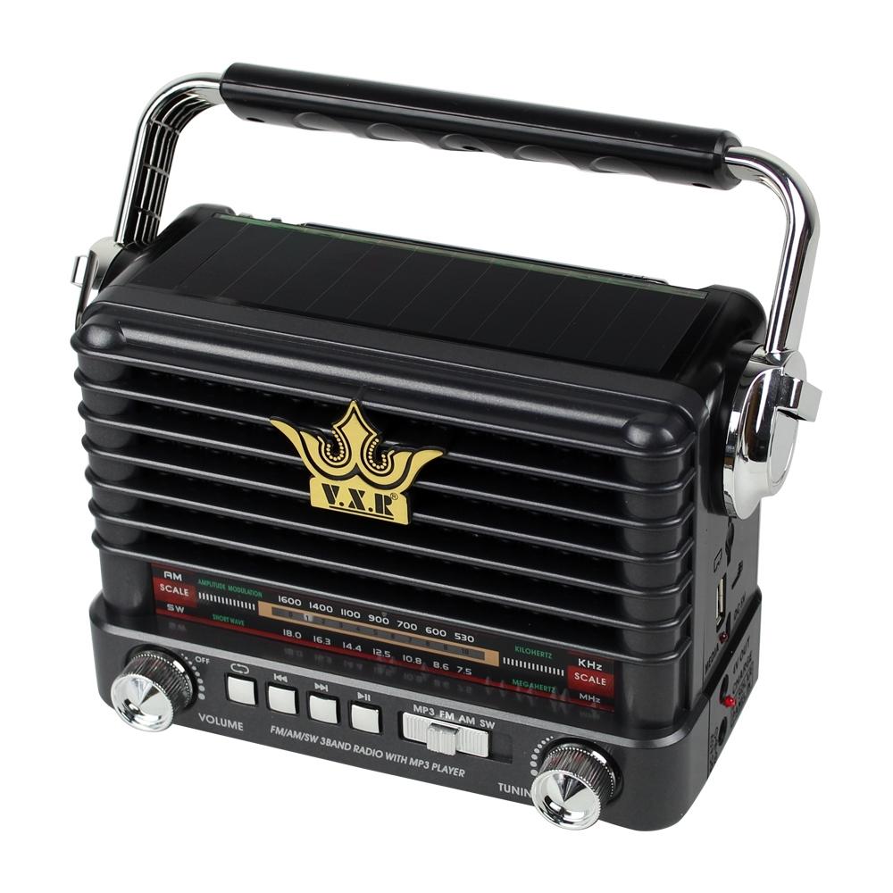 วิทยุ FM / AM / SW 3 พร้อมวิทยุ USB / TF (MP3) PLAYER V.X.R. รุ่น SolarRadio-VX-358US-07B-Rat1