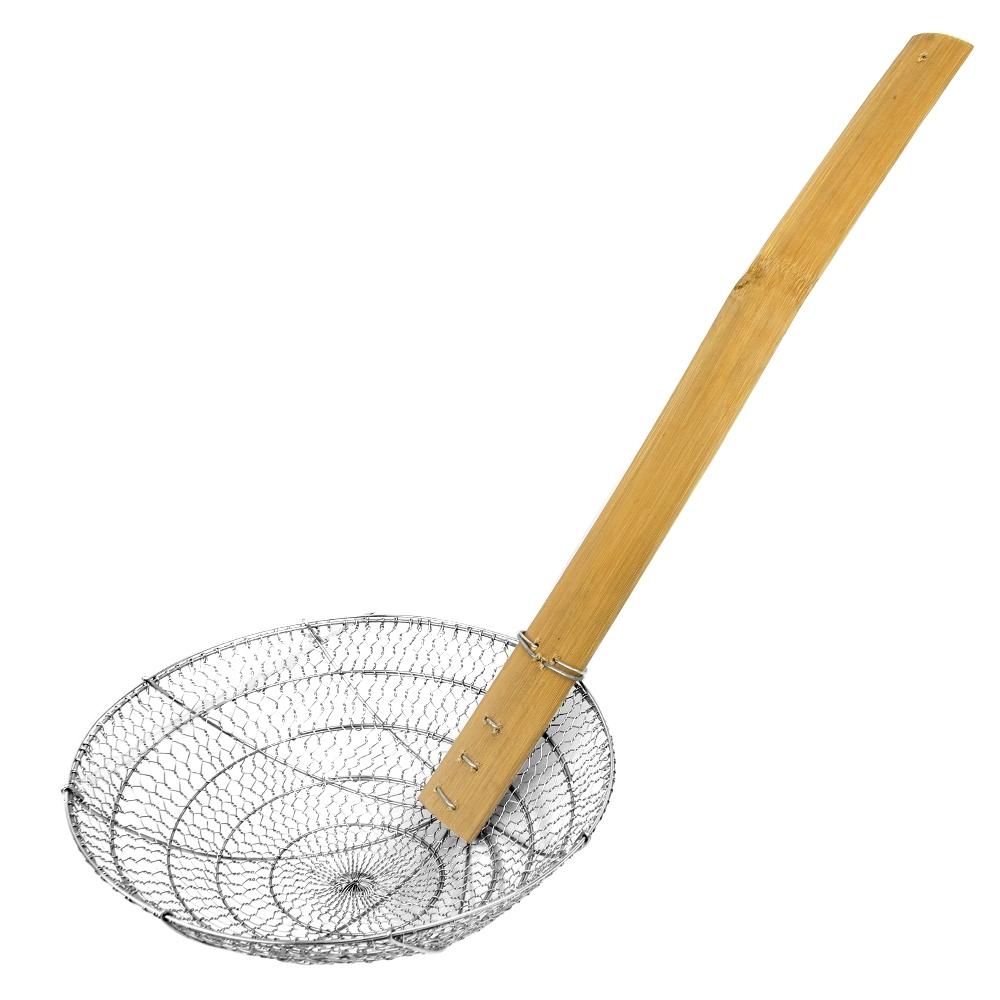 Telecorsa กระชอนแสตนเลส ตะแกรงตักของทอด ด้ามไม้ยาว (ขนาด7ซม.) รุ่น Frying-boiling-wooden-stick-08c-T5