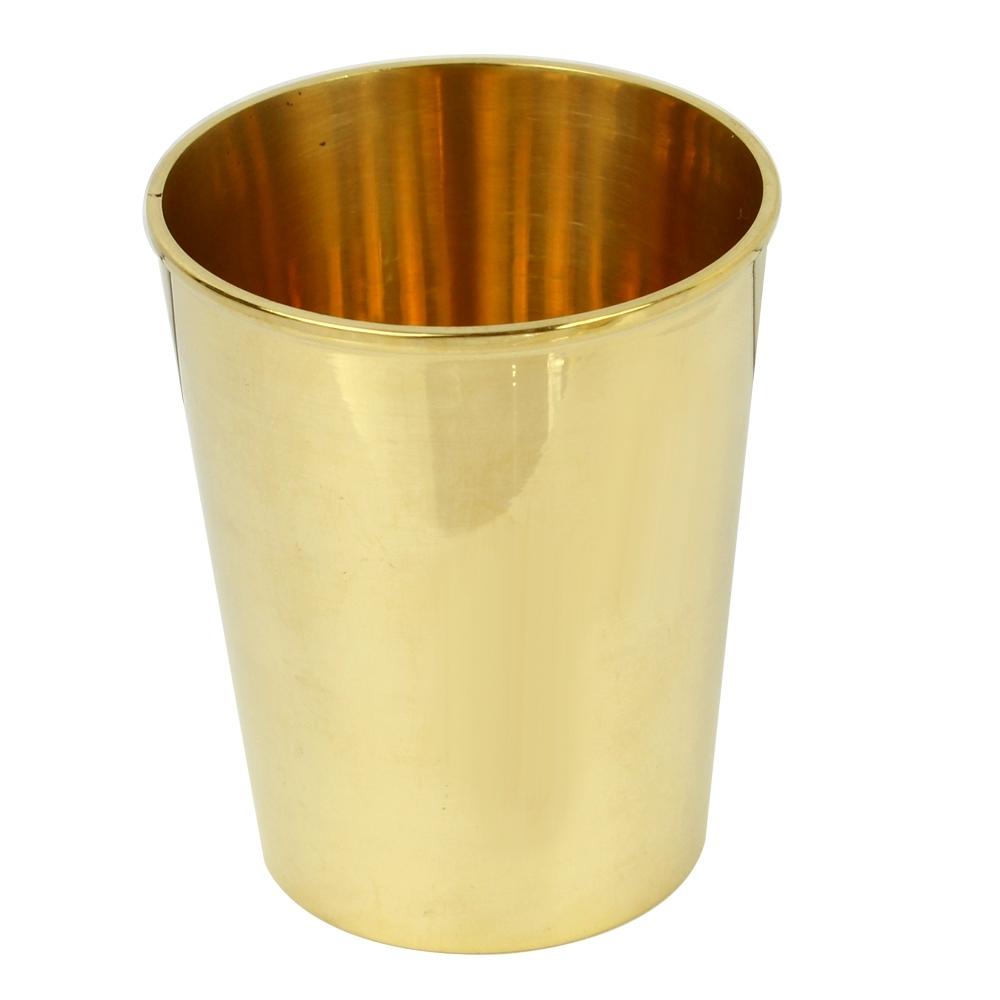 Telecorsa แก้วน้ำทองเหลือง แก้วทรงสูง (สูง9ซม.) รุ่น 9-cm-brass-cup-02B-Brass